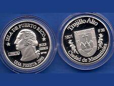 Silver PESETA TRUJILLO ALTO 2009 Puerto Rico Boricua Quarter 1/100 Plata