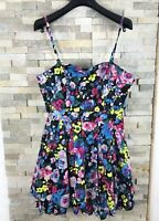 H&M Divided Ladies Size 16 Strappy Floral Bright Summer Dress