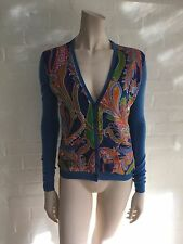 Ralph Lauren Black Label Paisley Silk-Paneled Cashmere Cardigan Sweater SZ S