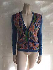 Ralph Lauren Black Label Paisley Silk-Paneled Cashmere Cardigan Sweater SZ S
