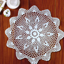 White Vintage Hand Crochet Lace Doily Round Floral Table Placemat 13.7-15.7inch