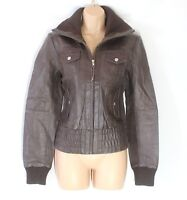 Women's Vintage VERO MODA Brown 100% Leather Bomber Jacket Coat Size M