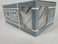 STOTTER Double Old Fashioned Plastic Glasses Frosted w/ Blue Line Set-6 VTG NIB