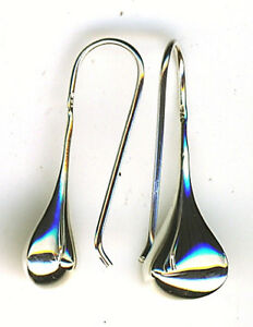 """925 Sterling Silver Tear / Pear Drop Dangle Earrings 1 Piece  Lgth 1.1/8"""" 28mm"""