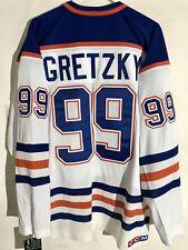 CCM Ribbed Knit LS NHL Jersey Edmonton OIlers Wayne Gretzky White sz L