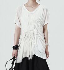 Three Layers Ruffle Cotton Silk Mesh Crepe Asymmetric White Top