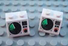 LEGO Lot of 2 White 2x2 Computer Space Radar Decorated Slope Pieces