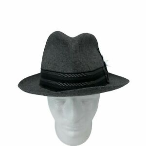 VINTAGE Biltmore Fedora Hat Adult Size 7 1/4 Gray Wool Goose Feather Musician
