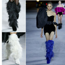 Womens Feather Furry Over Knee Clubwear Boots High Heels Pointed Toe Stilettos