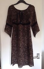 Ladies Beautiful H&M Black & Light Brown Kaftan Style Tunic Top -Size 12, EUR 38