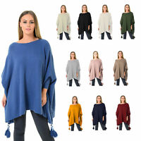 Womens Italian Batwing Boxy Boat Tassels Poncho Ladies Knitted Cape Plus Size