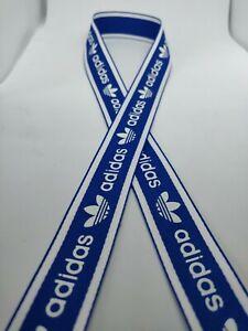 Gift adidas printed satin  ribbons 25mm brand theme 1 metre length blue
