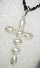 Anhänger echte Perlen 925 Silber Kreuz 50x26x3mm Süßwasserperlen