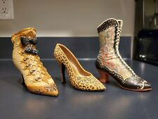 Lot 3 Just The Right Shoe by Raine Gold Deluxe Deco Boot Leopard Stiletto heels