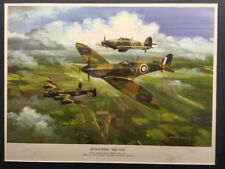 Very Collectable Signed Ltd. Ed Print RAF Battle Of Britain Spitfire & Lancaster