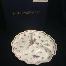"I. Godinger & Co Primavera Server 3 Sections White Butterflies 10.5"" Tray Plate"