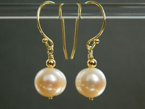 Natural Pale Pink Banded Baroque Freshwater Pearls & 24ct Gold Vermeil Earrings