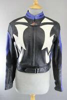 RIOSSI BRITISH DESIGNED BLACK, WHITE & BLUE COWHIDE LEATHER BIKER JACKET SIZE 10