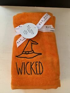 """Rae Dunn Halloween 2 Orange """"Wicked"""" Hand Towels Embroidered NWT 2021"""