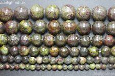 "Natural Bloodstone Gemstone Round Spacer Beads 4mm 6mm 8mm 10mm 12mm 14mm 15.5"""