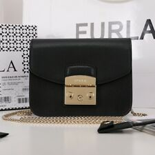 Authentic Furla Metropolis Mini bag Lady Shoulder bag  leather crossbody Black