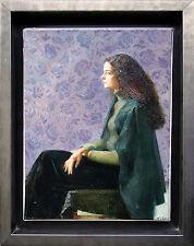 Russische Kunst-Realismus, Sitzende junge Frau, Öl-Gemälde 1960/70 signiert O.G.