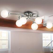 Elegante Chrom Deckenlampe LxBxH 65x35x19 cm Hotelzimmer Glas Kugel Beleuchtung