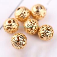 Jewelry Charms 10pcs Butterfly Shape Spacer Beads 8mm Round Copper Gold Plating