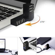 Mini 3 Port USB 2.0 Rotating Splitter Adapter Hub New For PC Laptop Notebook Mac