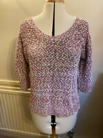 Oasis women pink & off white knitted cotton jumper blouse top UK L UK14 EU42