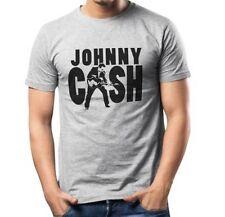 T-SHIRT T SHIRT MAGLIA MAGLIETTA AC/DC ROCK MUSICA JOHNNY CASH GRIGIA