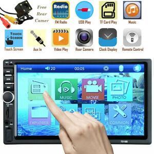 7'' Bluetooth Car Stereo Radio 2 DIN HD MP5 FM Player Touch Screen + Rear Camera