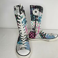 Converse 5 Pink Blue Chuck Taylor All Star Patchwork Tall Sneaker Shoes Boots