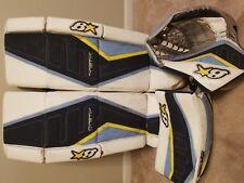Brian's G-Netik Pro II Adult Senior Goalie Leg Pads Glove Blocker Set White Navy