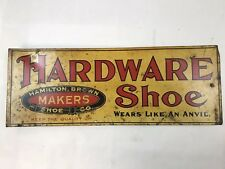 Vintage Hamilton Brown Shoes Hardware Shoe Sign Metal Double Sided