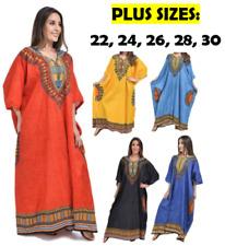 NEW LADIES PLUS SIZE 100% COTTON LONG SUMMER KAFTAN DRESS AFRICAN SIZE 14-30 FIT