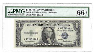 1935F $1 SILVER CERTIFICATE, PMG GEM UNCIRCULATED 66 EPQ BANKNOTE, Z/I BLOCK