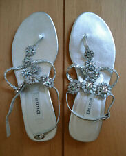 Dune Sandals with Floral Jewels / Size 40 / Silver / NEW