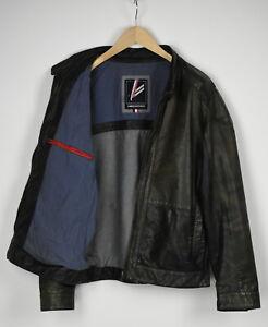 DANIEL HECHTER Men's (EU) 52 or ~LARGE Aged Look Leather Biker Jacket 31335-GS