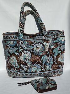 Vera Bradley Shoulder Bag Handbag Tote Purse and Wallet Java Blue Pattern