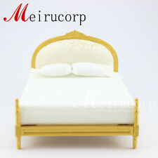 Dollhouse  1/12 scale miniature furniture well Gorgeous golden bed +2pcs pillow