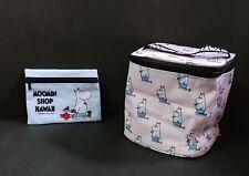 New Moomin Character Hawaii Aloha Pink Vanity Pouch & Blue Mini Pouch 2 pcs Set