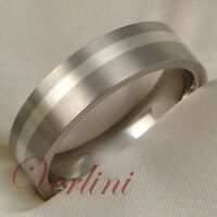 Titanium Wedding Band Ring For Men or Women Silver Inlay Jewelry Size 6-13