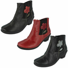 Zip Leather Floral Boots for Women