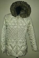 Laundry Women's size M Long Down Quilted Puffer Coat Jacket Faux Fur Hood Cream