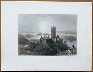 1842 Bartlett print ROSSERK FRIARY, COUNTY MAYO, IRELAND (#81)