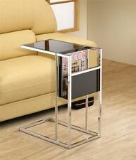 BLACK TINTED GLASS AND CHROME SNACK TABLE WITH MAGAZINE RACK **Free Shipping**