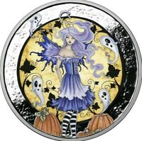 1 OZ 999 PURE SILVER PROOF HAUNTED PUMPKIN PATCH ROUND COIN AMY BROWN COLORIZED