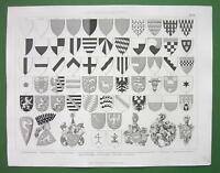 HERALDRY Coat of Arms Shields Germany Austria - Original Print Engraving