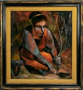 Robin Curtiss Mid Century Oil On Canvas Painting 1957 Impressionist Signed